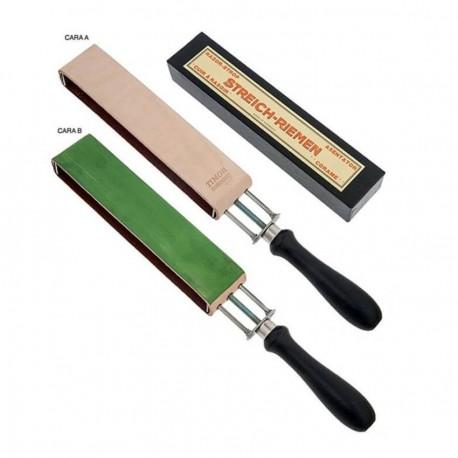 Correa de cuero con mango para suavizar navajas de afeitar rectas Fabricado por Timor Of Solingen