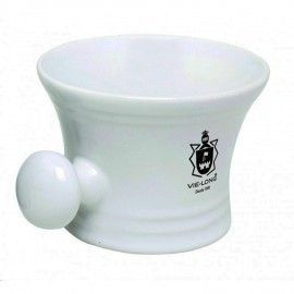 VieLong White Porcelain Shaving Bowl with Handle