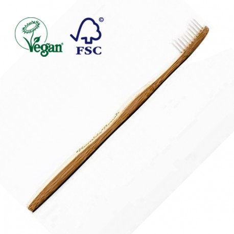 Biodegradable Nylon Bristle and Bamboo Handle Toothbrush - White