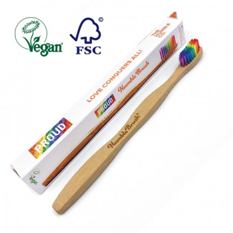 Biodegradable Nylon Bristle and Bamboo Handle Toothbrush - Multicolor