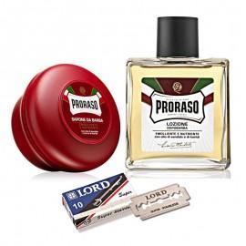 Jabón de Afeitar + Loción + 10 Cuchillas Lord de Proraso para pelo de barba dura