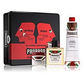 Vintage Red Proraso Shaving Box with Shea Butter