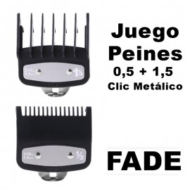 FADE 0.5 + 1.5 Metal Click Cutting Combs for WAHL Machines