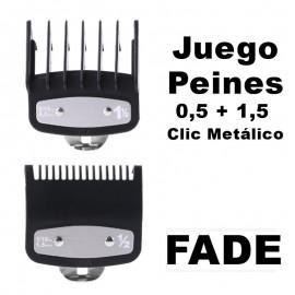 Peines de Corte FADE 0,5 + 1,5 Clic Metálico de Máquinas WAHL Balding