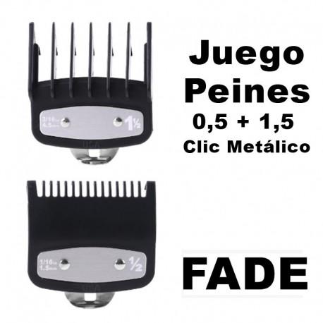 Pack Recalces Peines de Corte FADE 0,5 + 1,5 Clic Metálico Balding de Máquinas Wahl