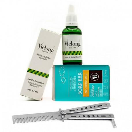 Pack Cuidado de la Barba Ecologic con Peine Plegable Metálico + Neceser de Regalo