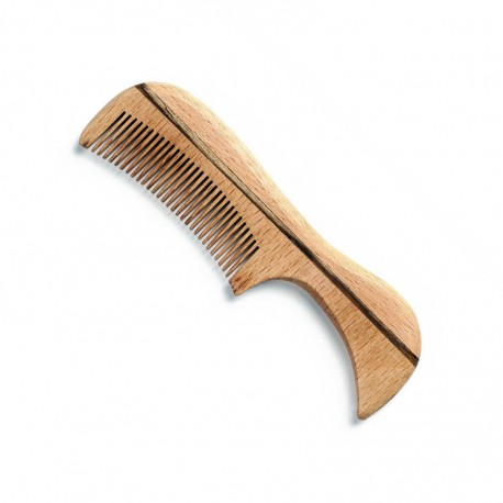 Beard and Mustache Comb with Beech Wood Handle