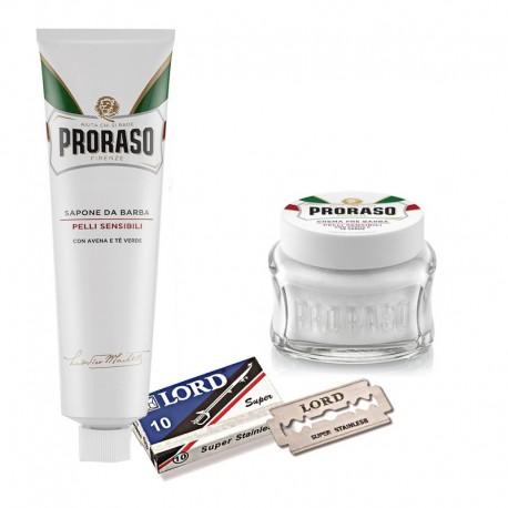 Crema de Afeitado Reparadora + Pre Shave + 10 Cuchillas Lord de Proraso