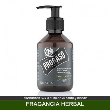 Champu PRORASO para Barba fragancia Herbal - Cypress Vetyver 200 ml