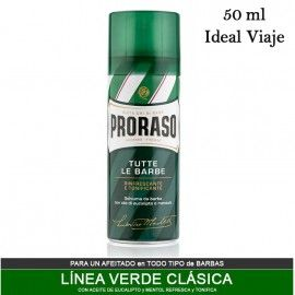 Eucalyptus & Menthol Proraso Shaving Foam 50ml - Ideal for Travel